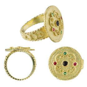 Justinian Collection - 24k Gold Plated Ring - Cirlce w/ Colored Cubic Zirconia (19mm)