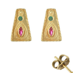 Justinian Collection - 24k Gold Plated Post Earrings - Trapezoid w/ Colored Cubic Zirconia (20mm)