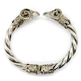Vintage Greek double ram's head sterling silver torque bracelet