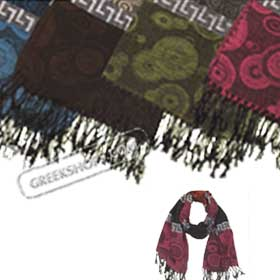 Pashmina Style Shawl w/ Greek Key Motif (4 color options)