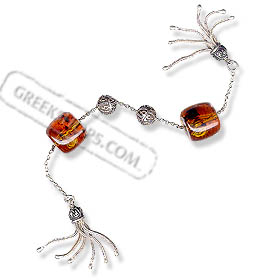 Sterling Silver Begleri Large Tubular Beads with Tassle (amber)