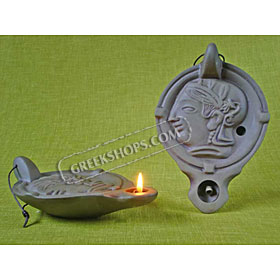 Ceramic Olive Oil Lamp - Athena 0143L1