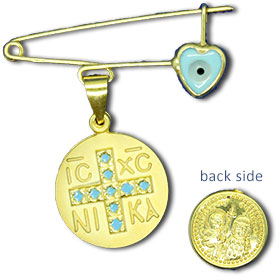 Gold Plated Sterling Silver Safety Pin w/ Byzantine Cross Newborn Blue Heart Charm