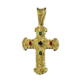 The Theodora Collection - 24k Gold Plated Sterling Silver Byzantine Cross with Rounded edges  (30mm)