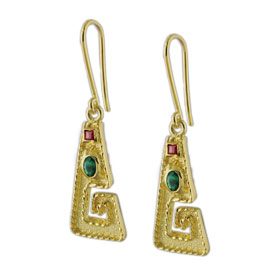 The Theodora Collection - 24k Gold Plated Sterling Silver Byzantine Greek Key Shaped Hoop Earrings