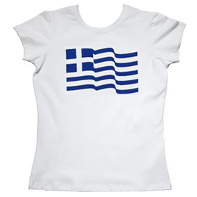Greece Flag Waving Womens Tshirt Style 1157