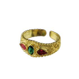 The Theodora Collection - 24k Gold Plated Sterling Silver Byzantine 3 - stone Adjustable Ring