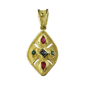 The Theodora Collection - 24k Gold Plated Sterling Silver Byzantine Teardrop shaped Cross (25mm)
