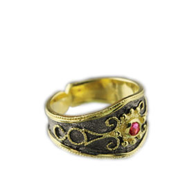 The Theodora Collection - 24k Gold Plated 2-tone Sterling Silver Byzantine Adjustable Ring w/ Red Ge