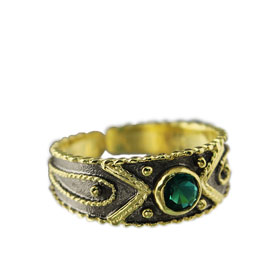The Theodora Collection - 24k Gold Plated 2-tone Sterling Silver Byzantine Adjustable Ring w/ Green