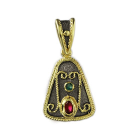 The Theodora Collection - 24k Gold/Platinum Plated Sterling Silver Round Byzantine Trapezoid Pendant