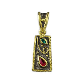 The Theodora Collection - 24k Gold/Platinum Plated Sterling Silver Byzantine Trapezoid Shape Pendant