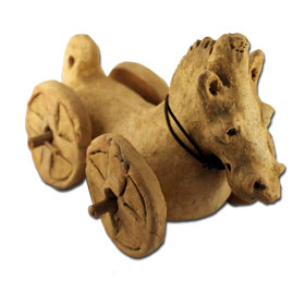 Ancient Greek Clay Horse toy replica, 4th Century BC, National Archaeologican museum of Athens