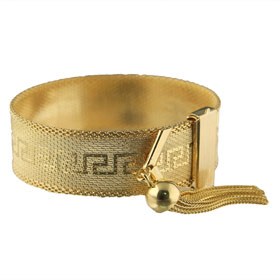 Greeks Greek Products Gold Jewelry The Prestige Collection Overlay Key Adjule Bracelet With Tel
