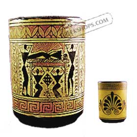 Geometric Wine Cup with Dionysus Pirestesses Dancing 9.5cm