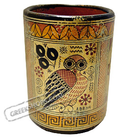 Geometric Wine Cup with Owl ( Koukouvagia ) 9.5cm