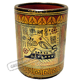 Geometric Wine Cup with Greek Trireme 9.5cm