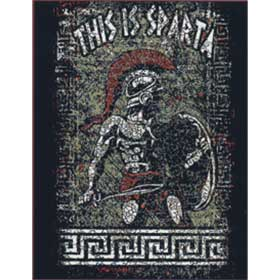 "Adult Crew neck tshirt ""This is Sparta!"" , In Black, Style D3047"