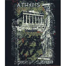 Adult Crew neck tshirt Parthenon, Caryatis, and Marathon Runners, In Black, Style D3059