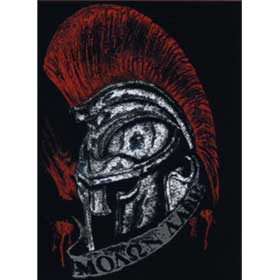 "Adult Crew neck tshirt Spartan Helmet ""Molon Lave"" (Come and Get it), In Black, Style D3065"