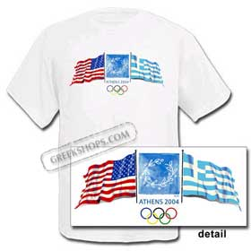 Athens 2004 USA/Greek Flags Tshirt -  SALE!