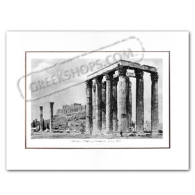 Vintage Greek City Photos Attica - City of Athens, Temple of Zeus - Stiles Olympiou Dios (1910)