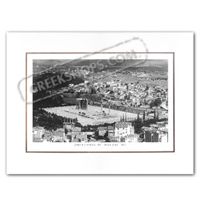 Vintage Greek City Photos Attica - City of Athens, Temple of Zeus - view of Athens (1921)