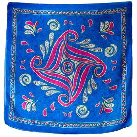 Authentic Greek Silk Shawl / Scarf w/ Tetraskelion Design - Blue Tones