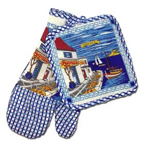 Decorative Greek Island Scene Oven Mitt and Potholder 2 pc. Set