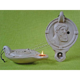 Ceramic Olive Oil Lamp - Zeus 01LA2