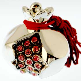 Sterling Silver Pomegranate with red rhinestones 3cm (1.18 in)