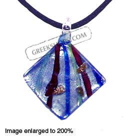 Murano Glass Diamond-Shaped Pendant - Blue Special 30% off