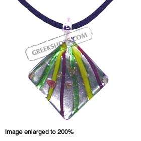 Murano Glass Diamond-Shaped Pendant - Green Special 30% off
