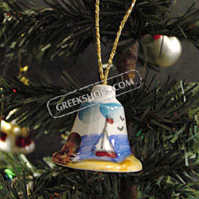Greek Island Christmas Tree Ceramic Ornament - Bell