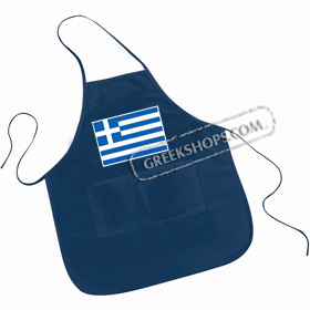 Large Pocketed Apron - Greek Flag