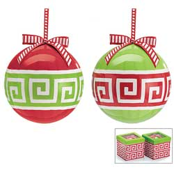 Greek Key Christmas Ornament (2 Color Options shown)