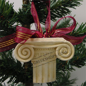 Ancient Greek Ionic Column Christmas Ornament 105_46white