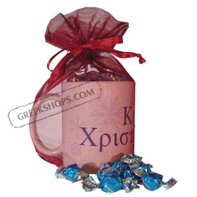 Greek Christmas Snowflakes Mug with Greek Candy Gift Package