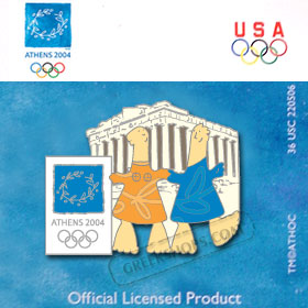 Athens 2004 Mascots with Parthenon Pin