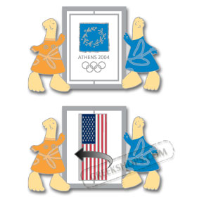 Athens 2004 Mascots USA Flag Spinning Pin