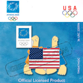 Athens 2004 Mascots w/ USA Flag Pin