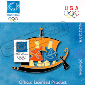 Athens 2004 Mascots on Ancient Sailboat Pin