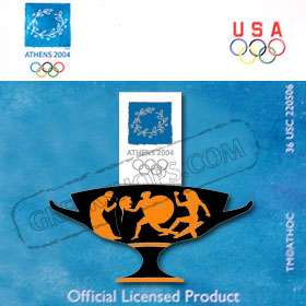 Athens 2004 Armed Runners Pin