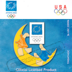 Athens 2004 Mascots on Moon Pin