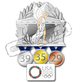 USOC Limited Edition USA Athens Medal Count Pin