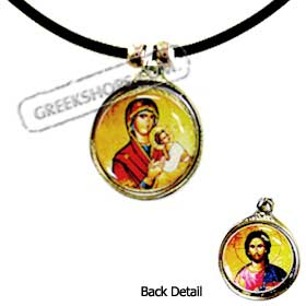 Reversible Religious Necklace w/ Rubber Cord (15mm)