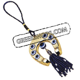Gold Horseshoe Ornament w/ Mati Evil Eye 19cm