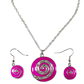 Pink Minoan Swirl Motif Necklace and Earring Set with Rhinestones