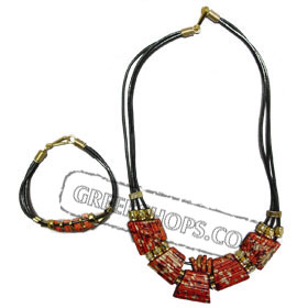 Ceramic Necklack & Bracelet leather set K400_B160 redgold