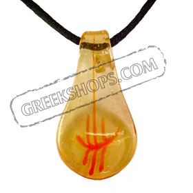 Murano Glass Teardrop Pendant - Yellow & Orange Special 30% off